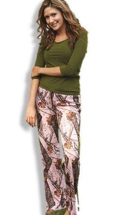 Mossy Oak Pink Camo Pants, Womens MOBU Loungewear Sleepwear Drawstring Pant…