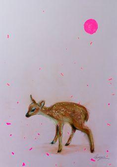 """Fawn"" © pastel drawing 46 x 26 cm Pastel Drawing, Graphic Prints, Giraffe, Art Drawings, Moose Art, Artist, Artwork, Painting, Animals"