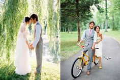 The photo of the bride and groom on the two seater bike is too cute! Especially with the cans behind it!