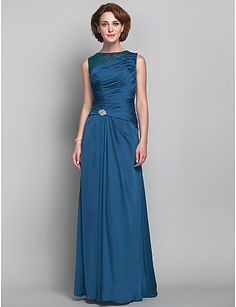 Sheath/Column Jewel Satin Chiffon Mother of the Bride Dress (612470) - USD $ 98.99