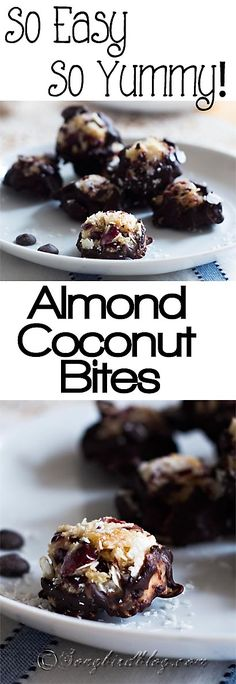 Very easy and very yummy almond, coconut bites. These gluten-free, paleo, primal snacks will satisfy your sweet tooth but they only take 15 minutes to make. http://www.songbirdblog.com #recipes #dessert #grainfree
