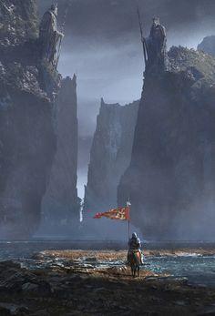 Ancient King's Path by Alejandro Olmedo Fantasy City, Fantasy Castle, Fantasy Kunst, Fantasy Places, High Fantasy, Medieval Fantasy, Fantasy World, Fantasy Art Landscapes, Fantasy Landscape