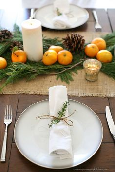 Our Christmas dinner table last year. I loved how natural, inexpensive, and pretty it was. #Christmas #christmas
