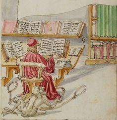 Theologe, dem der Teufel Schlingen auslegt. Darstellung einer Bibliothek mit mehreren gleichzeitig geöffneten Büchern. Der Teufel kann auch in Gestalt theologischer Wissenschaft daherkommen.