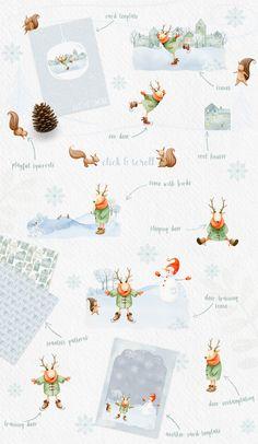 38830338eeb9 Winter Charm Vol 1 - Watercolor Deer by Watercolor Nomads on   creativemarket Cute Animal Illustration