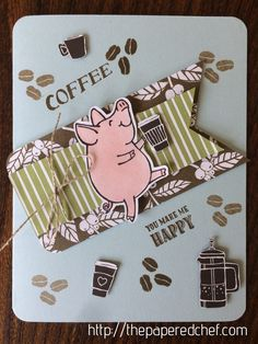 You Make Me Happy – Little Piggy Coffee Card, Brother Scan N' Cut, coffee, coffee beans, Coffee Break, Coffee Café stamp set, coffee crafts, coffee cup, coffee pot, designer series paper, latte, Stampin' Up, This Little Piggy
