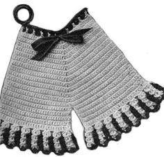 Potholder in the shape of a pair of vintage bloomers