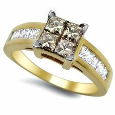 1.30ct Brown Princess Cut Quad Diamond Engagement Ring 14k Gold On Sale