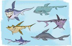 Justin Rodrigues - Character Design Page Cartoon Sea Animals, Cartoon Fish, Cartoon Turtle, Cartoon Chicken, Cartoon Unicorn, Draw Animals, Cartoon Cartoon, Cartoon Characters, Batman Cartoon