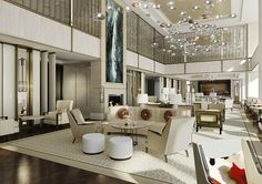 The Langham Chicago Hotel lobby LOVE the suspended balls are they lights? Lounge Design, Design Hotel, Lobby Design, Chicago Hotels, Public Hotel, Hotel Lounge, Lobby Lounge, Hotel Concept, Hotel Interiors