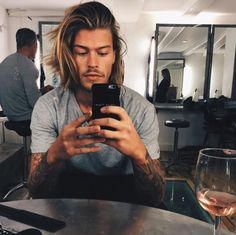 Image about style in handsome by {purplerain} Boys Long Hairstyles, Haircuts For Men, Men's Hairstyles, Androgynous Hair, Medium Hair Styles, Long Hair Styles, Clear Face, Hair And Beard Styles, Mi Long