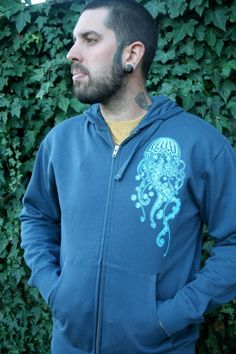 Men's Organic Cotton Jellyfish Zip Hoodie by SundialArtsApparel