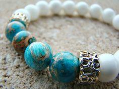 Bead Bracelet, Beaded Stretch Bracelet, Blue, Beaded Bracelet, White, Gemstone Bracelet, Gold, Stacking Bracelet, Handmade, Jewelry, Womens by BeJeweledByCandi on Etsy