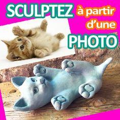 Comment sculpter un petit chat en argile sans cuisson à partir d'un photo trouvée sur internet