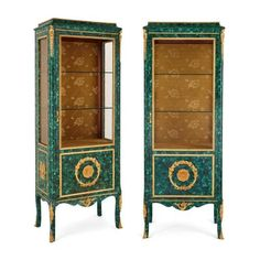 Pair of ormolu mounted malachite vitrines | French | 20th Century. More details online at mayfairgallery.com