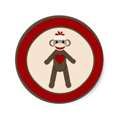 "20 - 1.5""  Envelope Seal Red Sock Monkey Stickers"