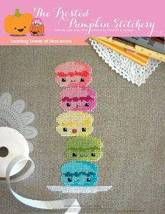 Leaning Tower of Macarons PDF Cross Stitch Pattern by Frosted Pumpkin Stitchery