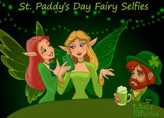 Humans aren't the only ones who like to take selfies! These fairies are out for a good time on St Patrick's Day. Their Leprechaun tablemate wishes he could join in on the fun!