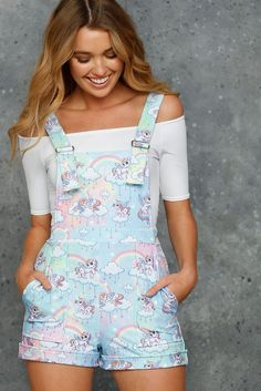 So Cute I Could Puke Short Overalls - LIMITED (AU $99AUD) by BlackMilk Clothing