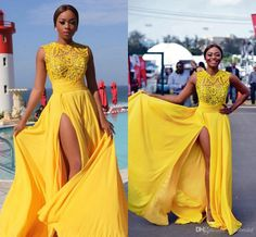 Yellow Prom Dress Split Evening Dresses Evening Wear Chiffon Red Carpet Pageant Formal Gowns Party Gown Beaded Floor Length High Quality New Tony Bowls Prom Dresses Turquoise Prom Dress From Yoyobridal, $99.95| Dhgate.Com