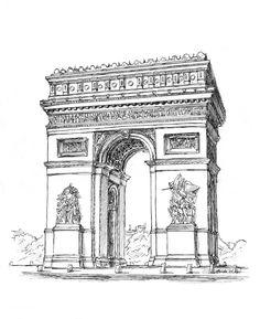 Arc_de_Triomphe___reprise_by_JanBoruta Architectural Plan Architecture Sketch , Drawing, Lineart Design