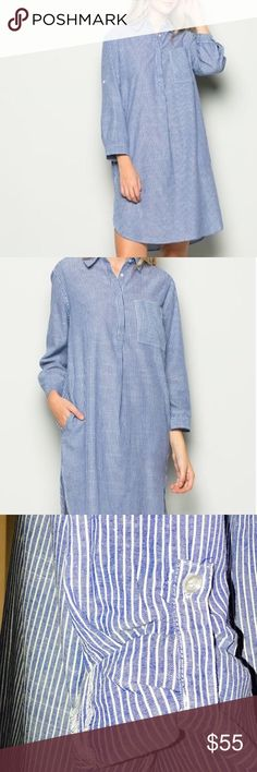 🆕🎉🎉🎉Denim Chambray Shirt Dress Great dress is flattering on most figures soft chambray denim with white stripe. Dress has pockets can be worn with or without a belt. I am 53 and the dress does run a little bit long below my knee. Dresses Midi