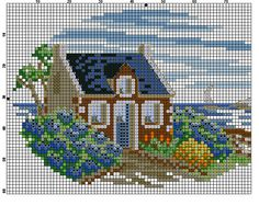 kleines haus Cross Stitch House, Cross Stitch Landscape, Blackwork, Cross Stitch Patterns, Needlework, Chart, Embroidery, Crossstitch, Sewing