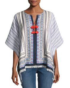 Blaire+Embroidered+Poncho,+Multi+by+Tory+Burch+at+Neiman+Marcus.