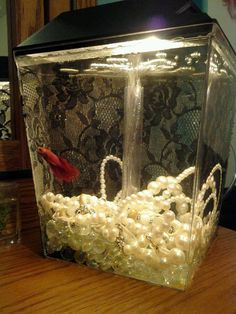 Decorate a fishtank! Modge podge lace onto the back, add old pearl necklaces instead of rocks.