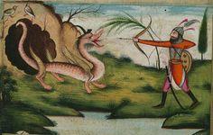 Illuminated Manuscript, Five poems (quintet), Bahrām Gūr kills a dragon, Walters Art Museum Ms. W.608, fol. 174a detail by Walters Art Museum Illuminated Manuscripts, via Flickr