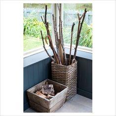 crate & basket: firewood &  walking sticks