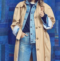 Marine Jeans, Denim Fashion, Womens Fashion, Street Fashion, Images Instagram, Trench Coat Outfit, Fashion Gone Rouge, Double Denim, Insta Look