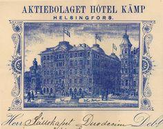 Hotel Kämpin lasku. Kuvan litografia on peräisin hotellin käyttämästä laskulomakkeesta (Duodecim-seuran arkisto) - Kämp valmistui v.1887 Pohjoisesplanadin ja Kluuvikadun kulmaukseen. Alkuperäinen Kämp purettiin 1960-luvulla uuden toimistorakennuksen myötä, mutta osia siitä – mm. Pohjoisesplanadin puoleinen julkisivu – rakennettiin kopioina osaksi uudisrakennusta. Hotellitoiminta käynnistyi uudelleen vuonna 1999. The Old Days, Historical Pictures, Timeless Elegance, Helsinki, Finland, Vintage World Maps, The Past, Old Things, Dreams