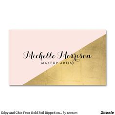 Edgy and Chic Gold Dipped Pink Business Card Template for Makeup Artists