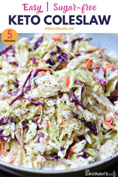 keto friendly salads This tangy Low Carb & Keto coleslaw makes the perfect keto side dish to bring to picnics or to serve up with keto barbecue. Includes just net carbs. Side Dishes For Bbq, Low Carb Side Dishes, Side Dish Recipes, Diabetic Side Dishes, Diabetic Snacks, Low Fat Diets, Low Carb Diet, Dukan Diet, Ketogenic Diet