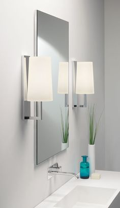 Riva 350 IP44 Polished Chrome Wall Lamp for Bathroom Lighting (shade not included) by Astro Lighting at Sparks Direct - in action
