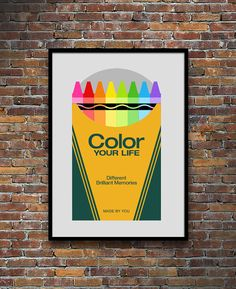 Retro poster Crayola crayons Mid century Modern kitchen by yumalum
