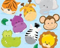 80% de animales de la selva venta frente uso comercial de imágenes prediseñadas, caras de animales vectores gráficos, digital imágenes prediseñadas, imágenes digitales - CL719