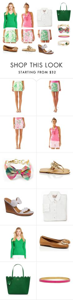"""""""Lilly Pulitzer: Pink and Green Spring '15"""" by bridgettroal ❤ liked on Polyvore featuring Tory Burch and Kate Spade"""