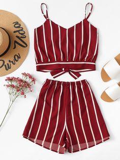 Striped Random Split Bow Tie Back Cami Top With ShortsFor Women-romwe