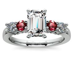Emerald Round Diamond & Ruby Gemstone Engagement Ring in White Gold  http://www.brilliance.com/engagement-rings/round-diamond-ruby-gemstone-ring-white-gold