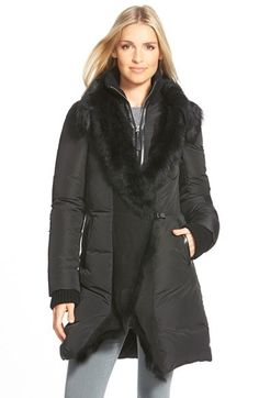 Mackage Long Down Coat with Genuine Toscana Shearling Trim
