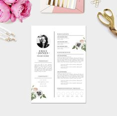 Instant Digital Download / Word format + PSD / CV Template + Cover Letter, 3 page Resume Template / Fonts included