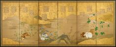 A six-fold paper screen painted in ink and colour on a buff ground with usagi (hares), flowers and shikishi (poem slips) among gold clouds in an autumnal landscape. Unknown (19th century Edo period)