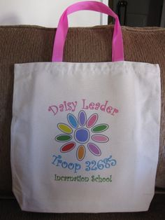 Great gift for Girl Scout Leaders! Brownie, Junior and other levels also available. GIRL SCOUT DAISY Leader Tote Bag $13.00, via Etsy.