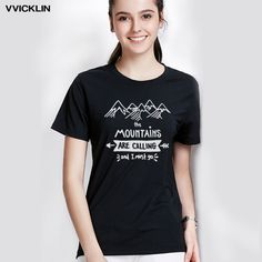 Black TShirts With figure of mountains | The Mountain Black Travel Short Sleeve Women Graphic Tee Travel Lovers Cotton Tshirt – Boheki
