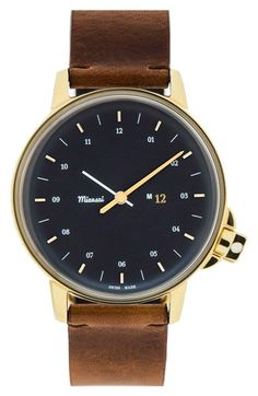 Miansai 'M12' Round Leather Strap Watch, 39mm available at #Nordstrom