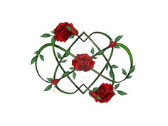 Double heart red rose eternity tattoo