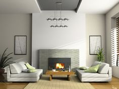 Inspiring Minimalist Living Room with Fireplace