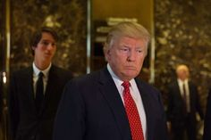 "President-elect Donald J. Trump on Monday at Trump Tower in Manhattan. He likes to hire hookers to give him ""Golden Showers"" (pee on him), according to Russian tapes."